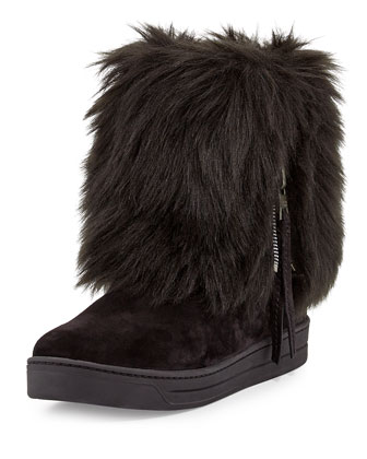 Faux-Furry Fold-Over Ankle Boot, Nero