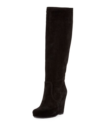 Suede Wedge Knee Boot