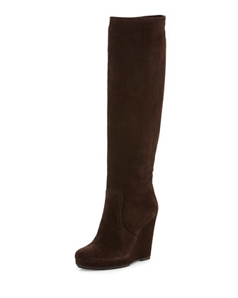 Suede Wedge Knee Boot, Brown