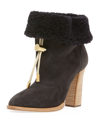 Suede Bolo-Tie Fur-Cuff Ankle Boot, Charcoal Gray