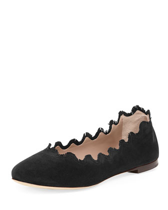 Scalloped Fringe Suede Ballerina Flat, Black