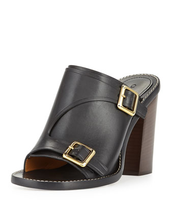 Buckled Stacked-Heel Slide Sandal, Black