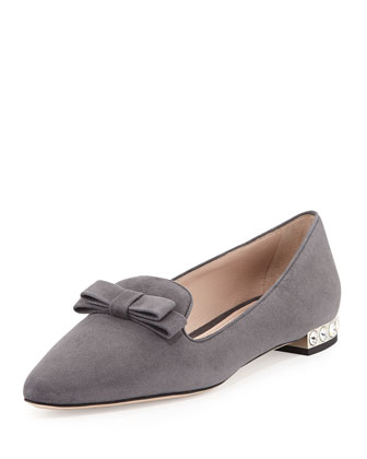 Suede Crystal-Heel Bow Loafer, Gray
