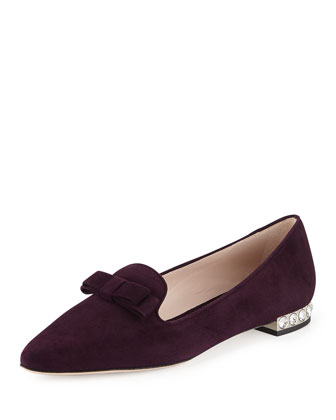 Suede Crystal-Heel Bow Loafer, Berry