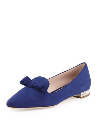 Suede Crystal-Heel Bow Loafer, Navy