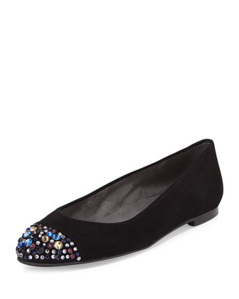 Bubbly Crystal-Toe Suede Flat, Black