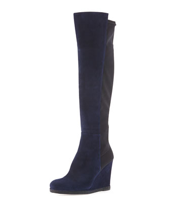 Demiswoon Suede/Stretch Wedge Boot, Nice Blue/Black