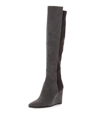 Demivoom Suede/Stretch Wedge Boot, Smoke/Black