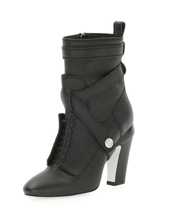 Diana Harness Ankle Boot, Nero