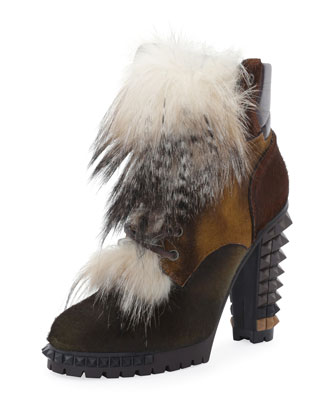 Spike-Heel Mixed Fur Hiker Boot