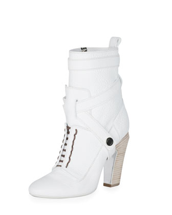 Diana Halter-Strap Ankle Boot, Bianco
