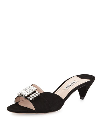 Crystal & Suede Kitten Heel Slide, Black