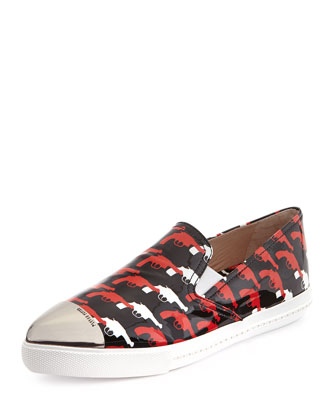 Printed Patent Metal-Toe Skate Shoe, Rosso/Nero