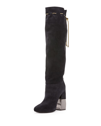 Suede Chain-Strap Knee Boot, Dark Blue