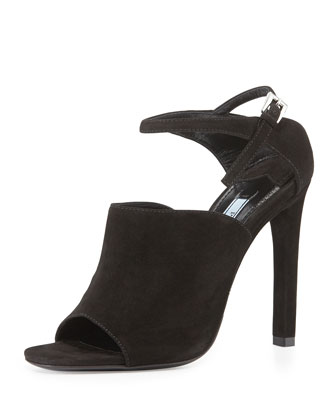 Suede Wide-Band Sandal, Black