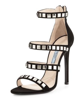 Square-Stud Suede Sandal, Black