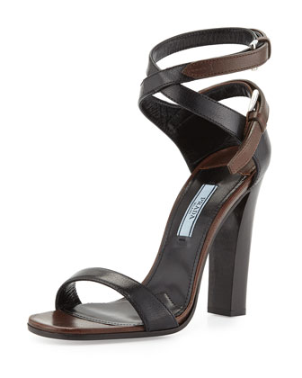 Stacked-Heel Ankle-Wrap Sandal, Black/Brown