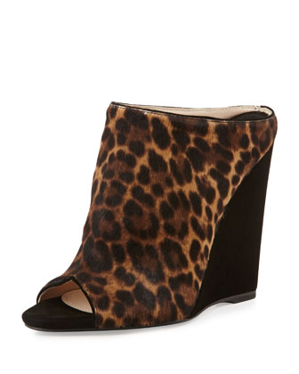 Leopard-Print Combo Wedge Slide