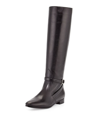 Flat Ankle-Strap Knee Boot