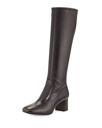 Low-Heel Stretch Leather Knee Boot