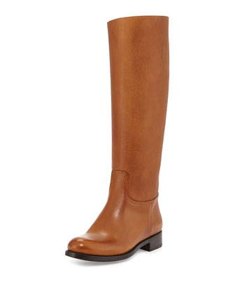 Saffiano Leather Riding Boot, Caramel