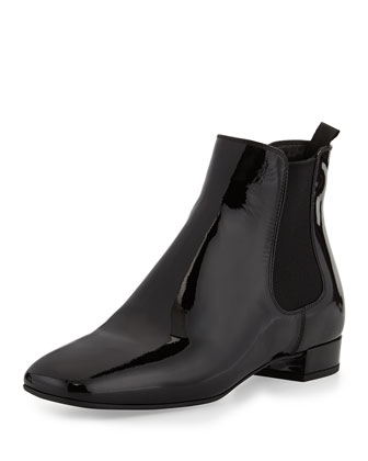Patent Leather Chelsea Boot, Nero