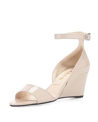 Patent Demi-Wedge Sandal, Cipria