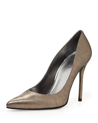 Nouveau Metallic Pointed-Toe Pump, Pewter