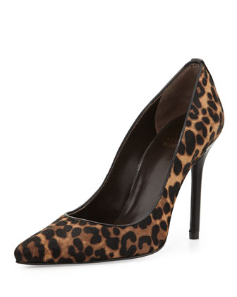 Pipenouveau Calf Hair Pump, Chocolate Leopard Print