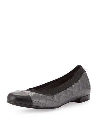 Quiltable Quilted Ballerina Flat, Anthracite