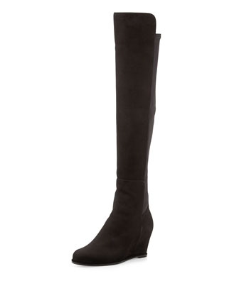 Semi Suede Stretch-Back Boot, Black