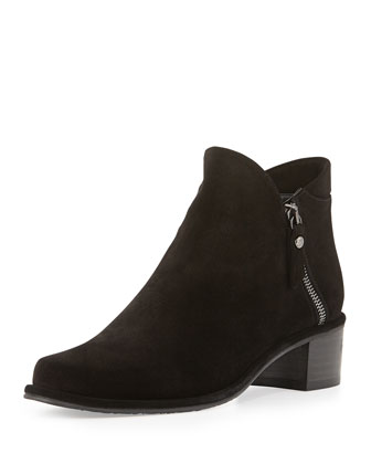 Zipdown Suede Zip Bootie, Nero