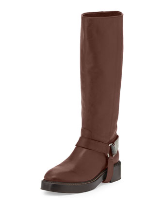 Monili Halter Leather Knee Boot, Espresso