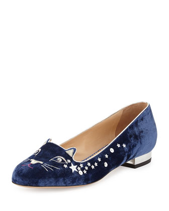 Party Kitty Sequin Velvet Slipper, Navy