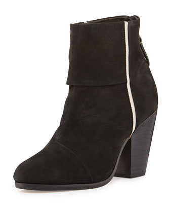 Newbury Grosgrain-Trim Ankle Boot, Black