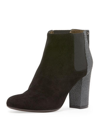 Stingray-Embossed Suede Ankle Bootie, Black