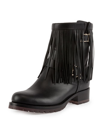 Fringe Leather Biker Boot, Black