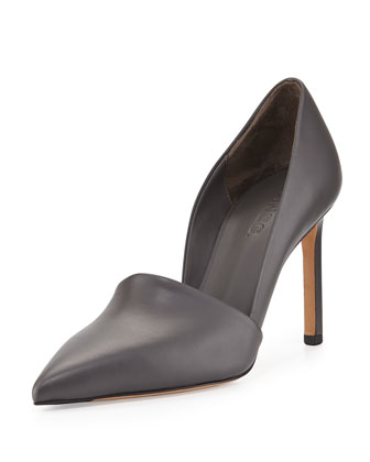 Cosette Leather Point-Toe Pump, Graphite