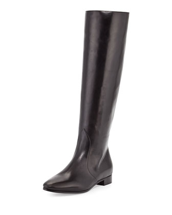 Flat Almond-Toe Knee Boot, Nero