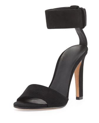 Gita Suede Ankle-Strap Sandal, Black