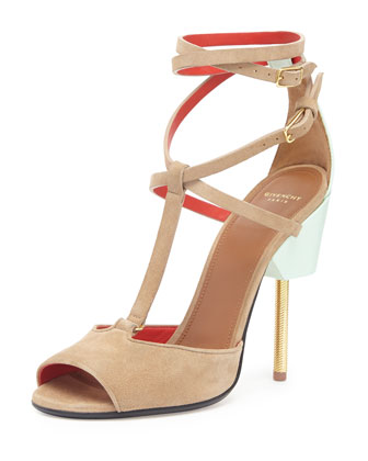 Suede Crisscross Runway Sandal, Blue/Brown