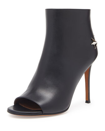 Peep-Toe Leather Star Bootie, Black