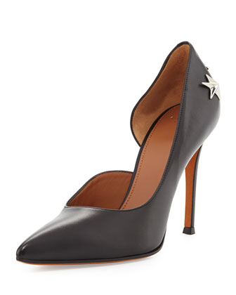 Leather Star-Stud Half d'Orsay Pump, Black