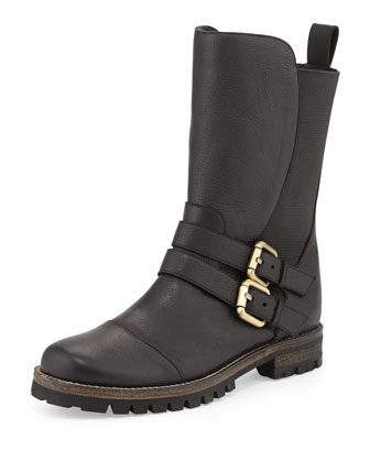 Kaganotta Buckled Mid-Calf Biker Boot, Black