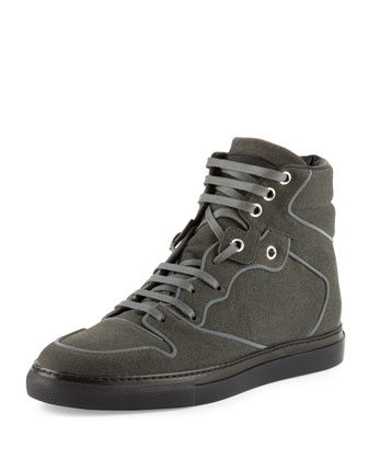 Flocked Goatskin High-Top Sneaker, Gris Elephant