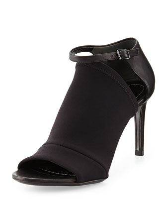 Neoprene Mid-Heel Glove Sandal, Noir