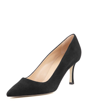 BB Suede 70mm Pump, Charcoal (Made to Order)