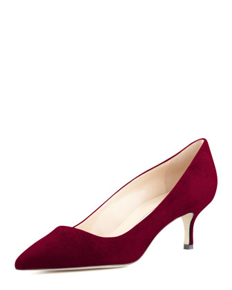 BB Suede 50mm Pump, Claret (Made to Order)
