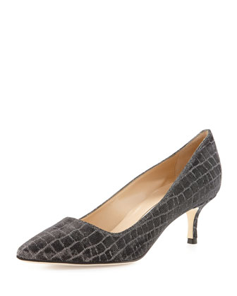 BB Metallic Croc-Print 50mm Pump, Anthracite
