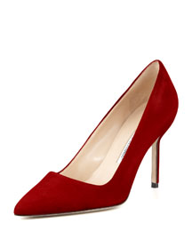 BB Suede 90mm Pump, Ruby (Made to Order)